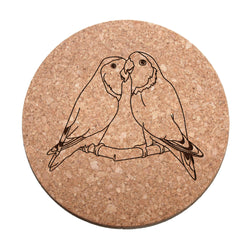 Lovebirds Cork Trivet