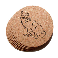 4 inch Maine Coon Cat Cork Coaster Set of 6