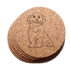 4 inch Maltese Dog Cork Coaster Set of 6