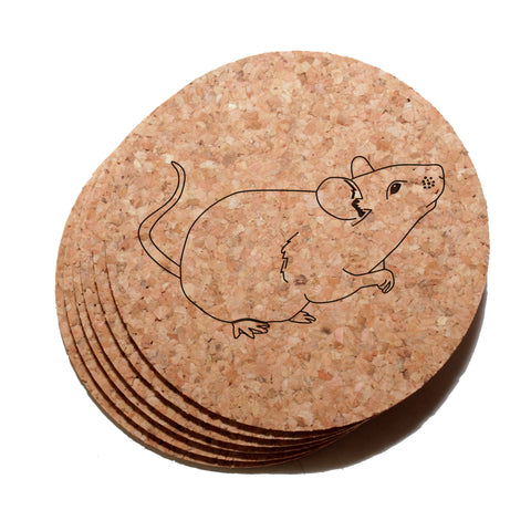 4 inch Mouse Cork Coaster Set of 6