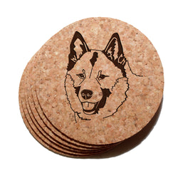 4 inch Norwegian Elkhound Cork Coaster Set of 6
