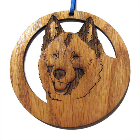 4 inch Norwegian Elkhound Laser-etched Ornament