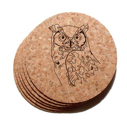 4 inch Great Horned Owl Cork Coaster Set of 6