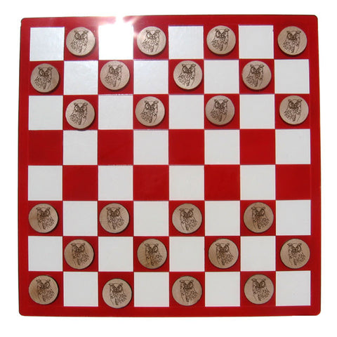 Fancy Great Horned Owl Checkers Set
