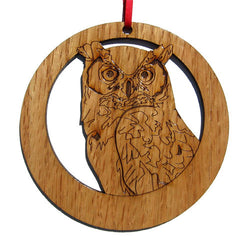 4 inch Great Horned Owl Laser-etched Ornament