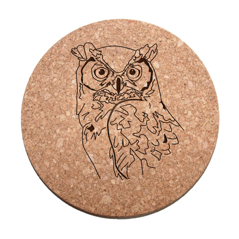 Great Horned Owl Cork Trivet