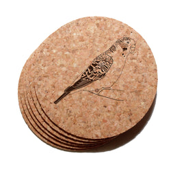 4 inch Parakeet Cork Coaster Set of 6