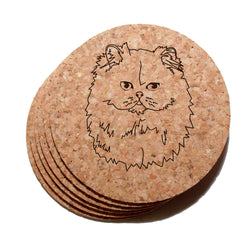 4 inch Persian Cat Cork Coaster Set of 6