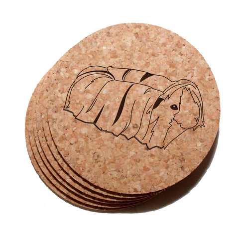 4 inch Peruvian (Long-Haired) Guinea Pig Cork Coaster Set of 6