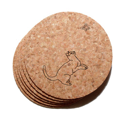4 inch Playful Cat Cork Coaster Set of 6