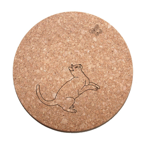 Playful Cat Cork Trivet