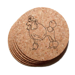 4 inch Poodle Cork Coaster Set of 6