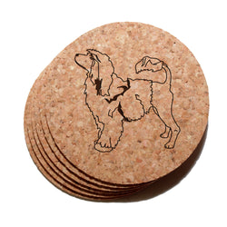4 inch Portuguese Water Dog Cork Coaster Set of 6