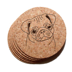 4 inch Pug Dog Cork Coaster Set of 6