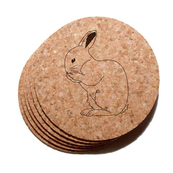 4 inch Rabbit Cork Coaster Set of 6