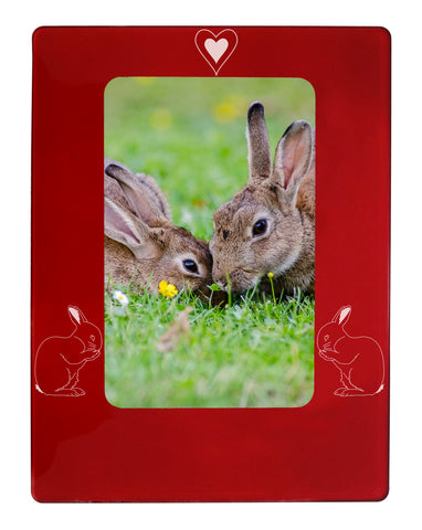 "Red Rabbit 4"" x 6"" Magnetic Photo Frame (Vertical/Portrait)"
