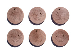 Rabbits Maple Magnet Set of 6