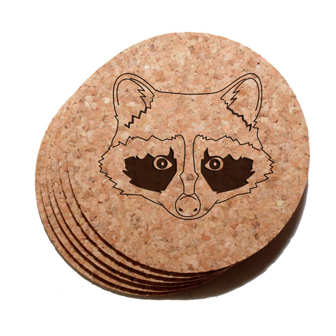 4 inch Raccoon Cork Coaster Set of 6
