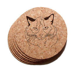 4 inch Ragdoll Cat Cork Coaster Set of 6