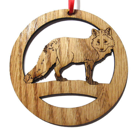 4 inch Red Fox Laser-etched Ornament