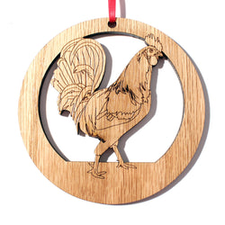 4 inch Rooster Laser-etched Ornament