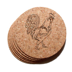 4 inch Rooster Cork Coaster Set of 6