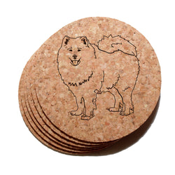 4 inch Samoyed Cork Coaster Set of 6
