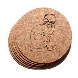 4 inch Scottish Fold Cat Cork Coaster Set of 6