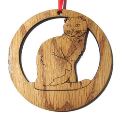 4 inch Scottish Fold Cat Laser-etched Ornament