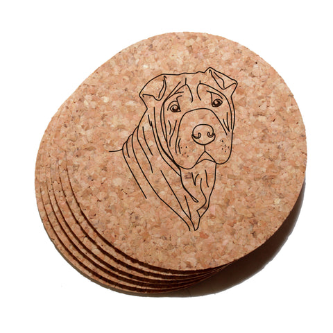 4 inch Shar-Pei Dog Cork Coaster Set of 6
