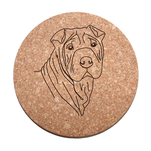 Shar-Pei Dog Cork Trivet