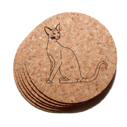 4 inch Siamese Cat Cork Coaster Set of 6