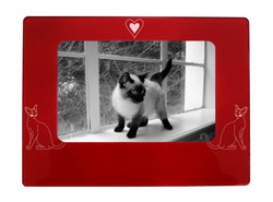 "Red Siamese Cat 4"" x 6"" Magnetic Photo Frame (Horizontal/Landscape)"