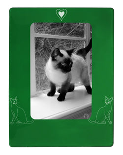 "Green Siamese Cat 4"" x 6"" Magnetic Photo Frame (Vertical/Portrait)"