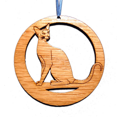 4 inch Siamese Cat Laser-etched Ornament