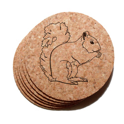 4 inch Squirrel Cork Coaster Set of 6