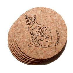4 inch Tabby Cat Cork Coaster Set of 6