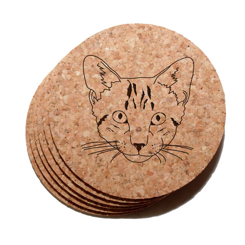 4 inch Tabby Cat Face Cork Coaster Set of 6