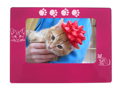 "Pink Tabby Cat 4"" x 6"" Magnetic Photo Frame (Horizontal/Landscape)"