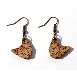 Laser-cut Tabby Cat Earrings