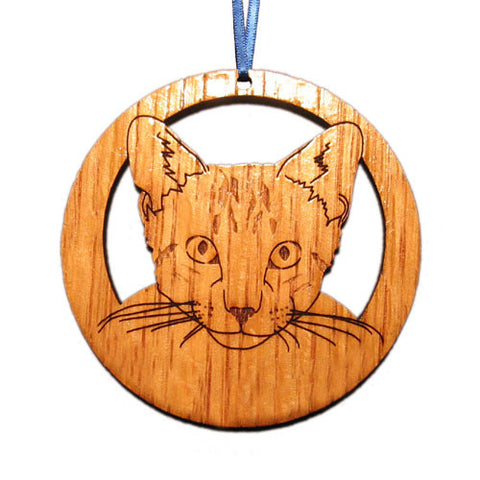 4 inch Tabby Cat Face Laser-etched Ornament