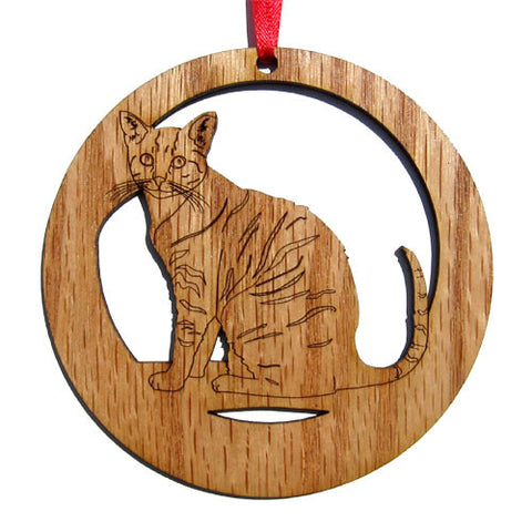 4 inch Tabby Cat Laser-etched Ornament