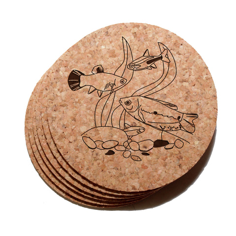 4 inch Tropical Fish Cork Coaster Set of 6