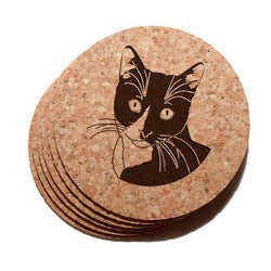 4 inch Tuxedo Cat Cork Coaster Set of 6