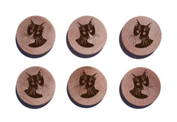 Tuxedo Cat Maple Magnet Set of 6