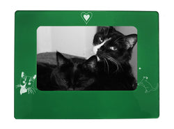 "Green Tuxedo Cat 4"" x 6"" Magnetic Photo Frame (Horizontal/Landscape)"