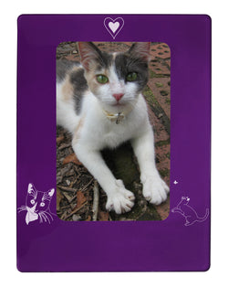 "Purple Tuxedo Cat 4"" x 6"" Magnetic Photo Frame (Vertical/Portrait)"