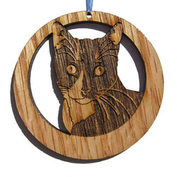 4 inch Tuxedo Cat Laser-etched Ornament