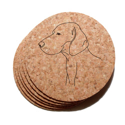 4 inch Weimaraner Cork Coaster Set of 6
