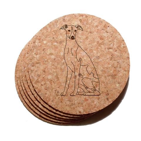 4 inch Whippet Cork Coaster Set of 6